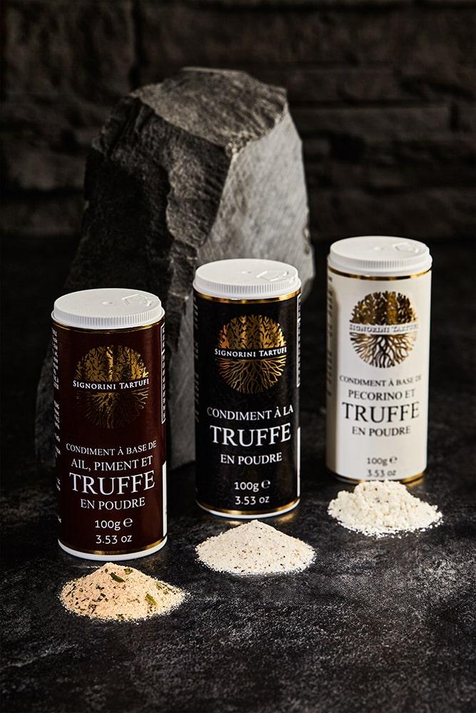 poudre de truffe-pecorino-ail piment-truffe salé-signorini tartufi