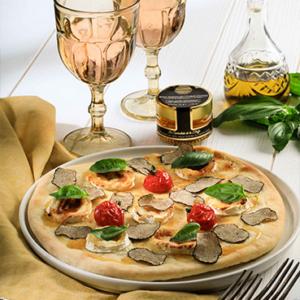 Pizza chèvre et miel à la truffe Signorini tartufi le specialiste de la truffe